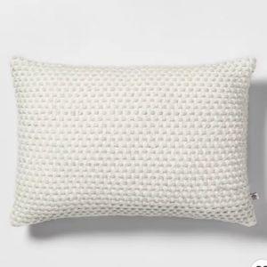 "14"" x 20"" Woven Texture Throw Pillow Sour Cream/Li"